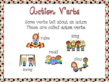action verbs poster set includes verbsthat add and do not add s