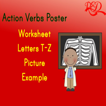 Action Verbs Poster T-Z