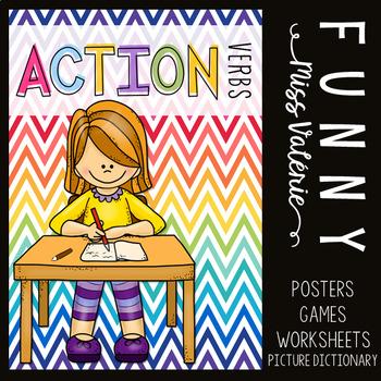 Action Verbs - Poster Set + Games + Worksheets