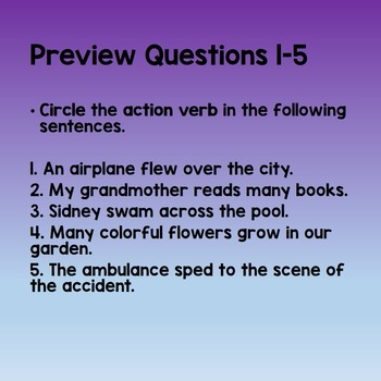 Action Verbs Practice and Review