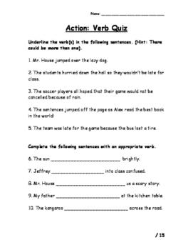 Action Verbs Quiz