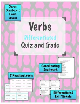 Action Verbs Game - Quiz and Trade {Differentiated}