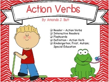 action verbs reader fill in words flashcards kindergarten first - Action Berbs
