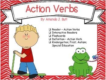 Action Verbs - Reader; Fill in Words; Flashcards; Kinderga