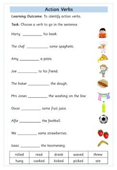 Action Verbs - Set of 5 Worksheets