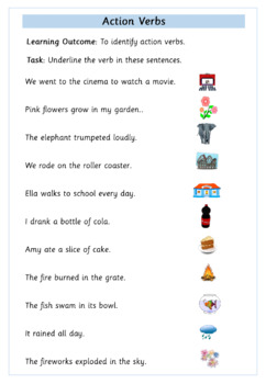 Action Verbs - Set of 5 Worksheets