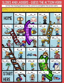 Action Verbs - Slides and Ladders Game