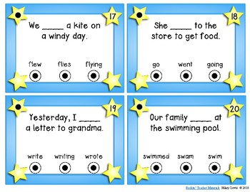 Action Verbs - Task Cards - Just Pick and Pinch (or clip!)