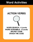 Action Verbs - Word Search, Word Scramble,  Secret Code,  Crack the Code