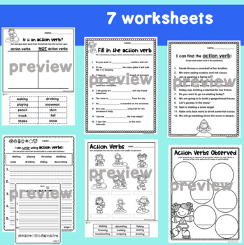 Action Verbs Worksheets and Sort Cards Winter Theme