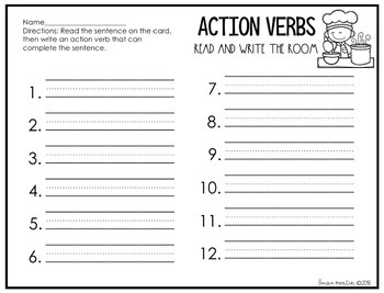 Action Verbs - Write the Room Bundle