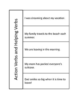 Action Verbs and Helping Verbs Reading Journal Page