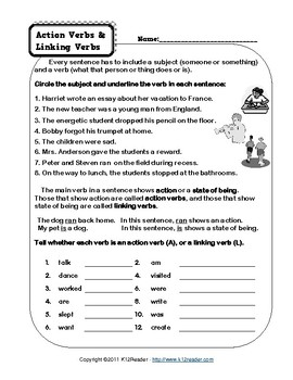 Action Verbs and Linking Verbs Worksheet