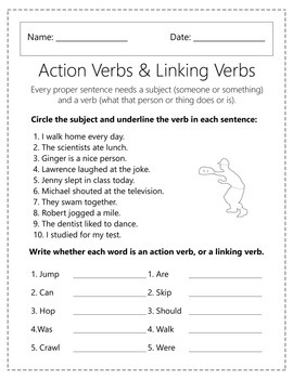 Action Verbs and Linking Verbs Worksheets