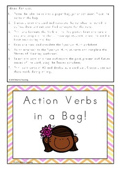 Action Verbs in a Bag Activity Pack