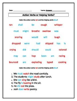 Action Verbs or Helping Verbs? Worksheet