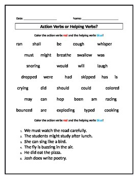 Action Verbs or Helping Verbs? Worksheet