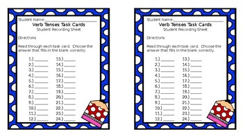 Action Verbs with Answer Key and Early Finishers