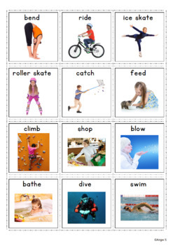 Action Verbs Cards for Special Education, Pecs