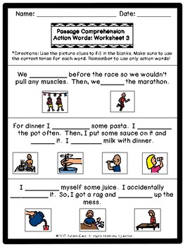 Action Words: Passage Comprehension