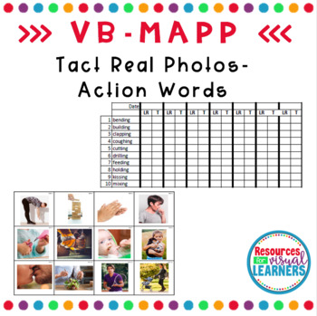 Action Words Real Photos Picture Cards Aligned to VB-MAPP