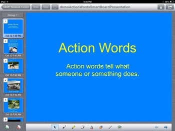 Action Words SmartBoard Presentation