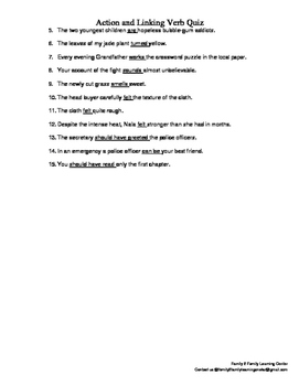 Action and Linking Verb Quiz