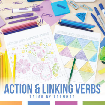 Color By Grammar Action And Linking Verbs Coloring Sheet Tpt