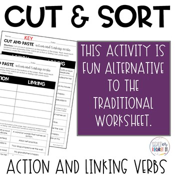 Action and Linking Verbs Cut and Paste Sorting Activity