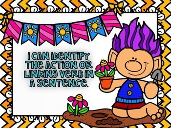 Action and Linking Verbs Powerpoint Spring Themed