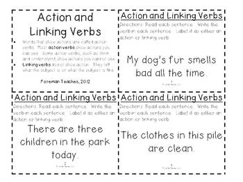 Action and Linking Verbs Task Cards