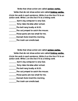 Action and Linking Verbs Warm-Up