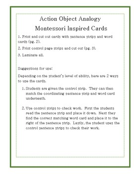 Action to Object Analogy Cards- Montessori Inspired