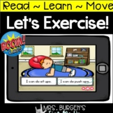 Action verbs  Boom Cards™  Let's Exercise  Distance Learning