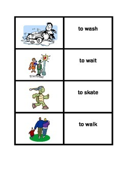 Action verbs in English Concentration games