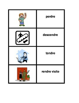 Action verbs in French Vocabulary Concentration games