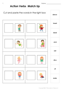Action verbs special education matching set