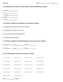 Action/Helping Verbs Quiz