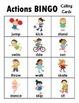 Actions BINGO + 12 bonus pages of vocabulary words