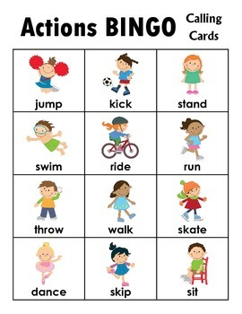 Actions BINGO + 12 bonus pages of vocabulary words