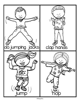 Actions Cards Set - Activities for Preschool to 2nd Grade - Get Up and MOVE!