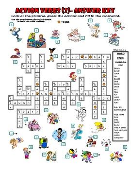 Action Verbs (2) - Crossword Puzzle with Pictures