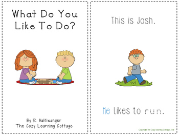 Actions Emergent Reader- Sight words and pronouns practice