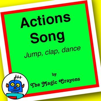 English Actions Song 2 for ESL, EFL, Kindergarten. Jump, walk, hop, run, dance