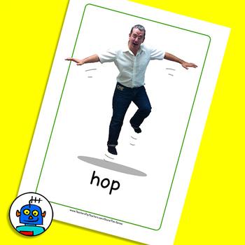 ESL Actions Flash Cards. Hop, jump, run, swim, tip toe, walk.