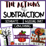 Actions of Subtraction {Fall} Separate, Compare & Missing Part Word Problems
