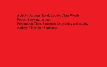 Actions speak louder than words- Respect Activity