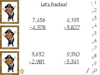 ActivBoard Smartboard Flipchart 4-Digit Subtraction w/Regrouping