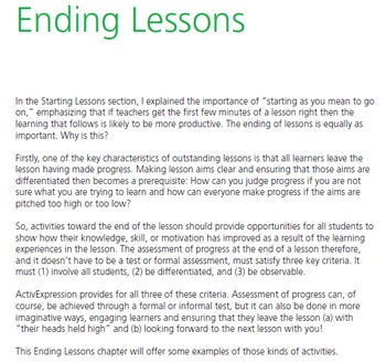 ActivExpression: Chapter 5 Ending lessons with ActivExpression
