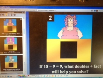 Math Backwards Doubles Facts Strategy- Hollywood Squares Game- flipchart